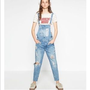 Zara Distressed Overalls